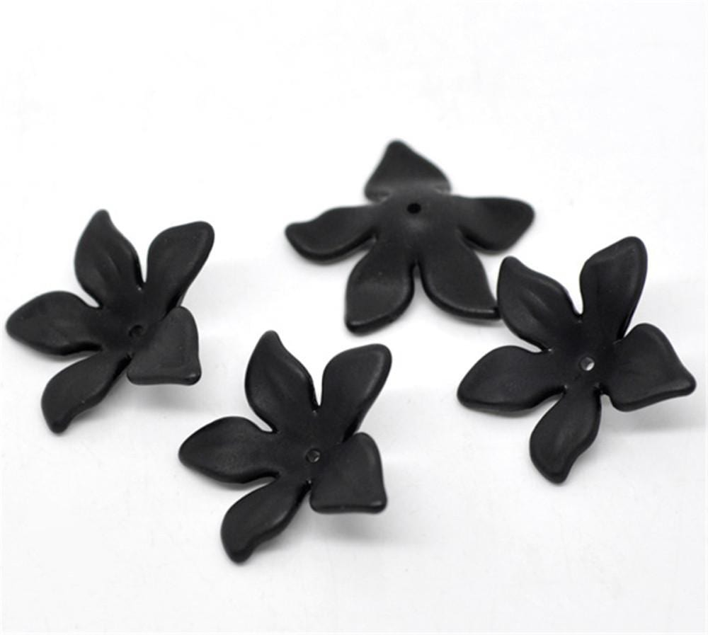 80Pcs Black Flower Frosted Acrylic Beads 28x7mm