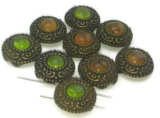 9 Antique Vintage like 2 hole slider beads 11075-N11