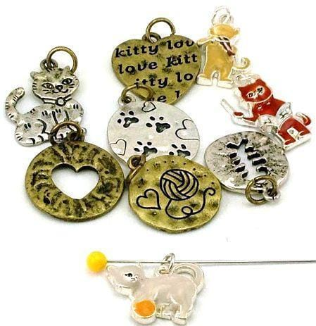 9 cat theme charms and beads 2 hole beads B199-H9