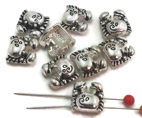9 crab silver sealife 2 hole slider beads 11591-m15