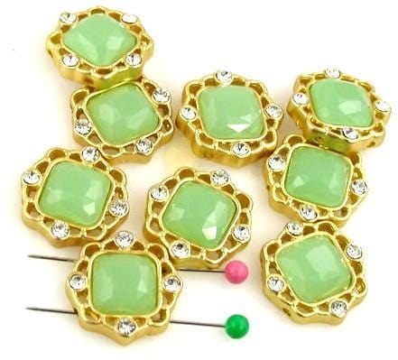 9 pale green 2 hole slider beads 9851-F12