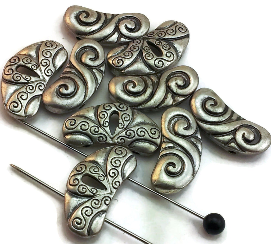 9 pewter kidney 2 hole beads d159-A1