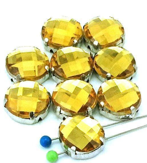 9_Platinum_Silver_Stamped_Faceted_Lucite_Yellow_2_Hole_Slider_Beads_B208