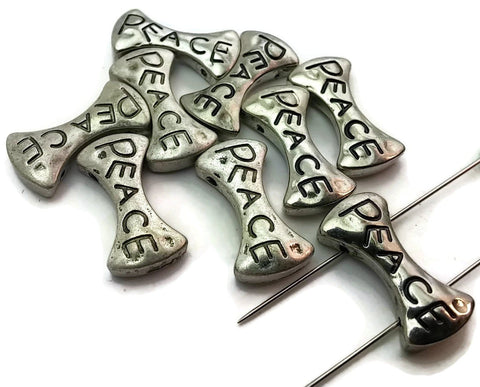 9 Silver Peace Unique Inspirational Bow Tie Shaped 2 Hole Beads Slider Beads m174