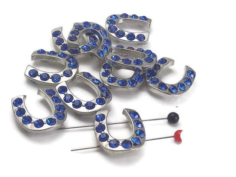 10 Capri Blue 2 hole beads slider horseshoes 6273-R4