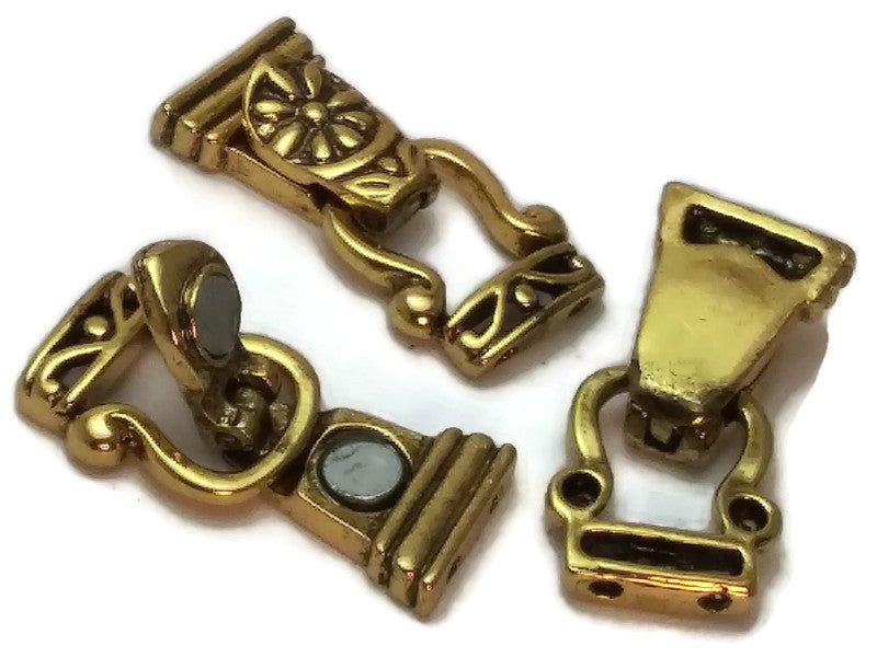 Bright Gold Floral Fold Over  Magnetic Clasps-1213gld-gld