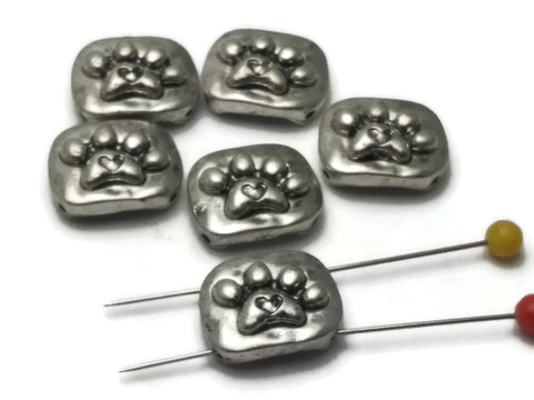 6 Small Silver Paw Print 2 hole Slider Beads