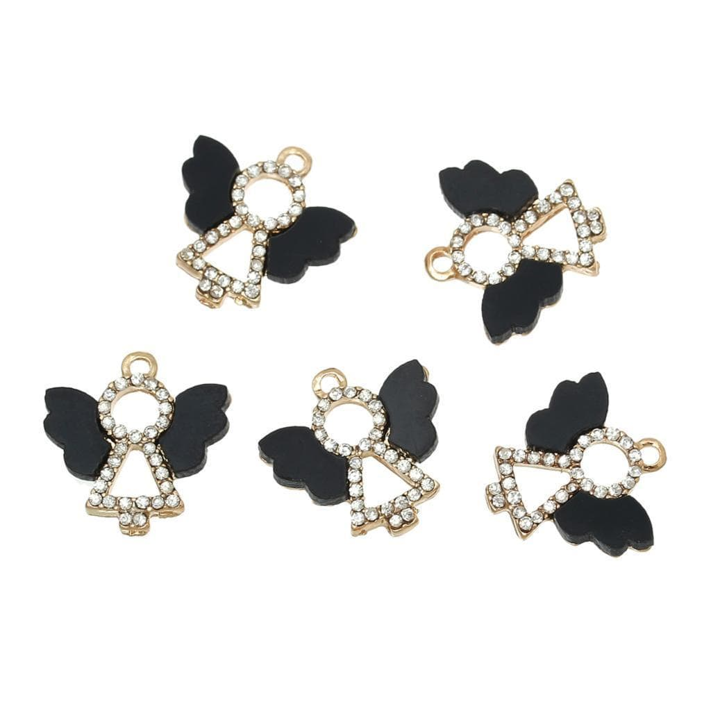"Angel_Gold_color_Black_Resin_Embellishments_Clear_Rhinestone_18mm(_6/8"")_x_18mm(_6/8""),_5_PCs"