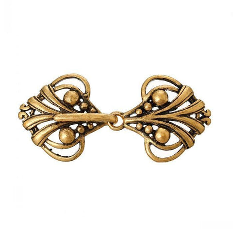 "Antique Brass Charm Sweater Clasps Heart golden tone Hollow 4.6cm x 2.1cm(1 6/8"" x 7/8""),5PCs"
