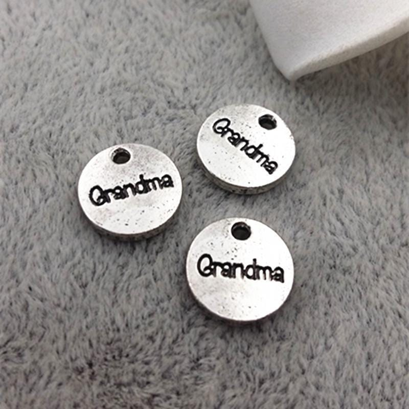 "Antique silver Small Tag Charms with ""Grandma"" Inscribed on them 10mm"