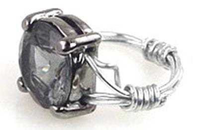Black diamond wire wrapped slider bead ring-idea