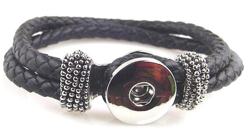 Black leather like  large twinklette bracelet 10891-shelf