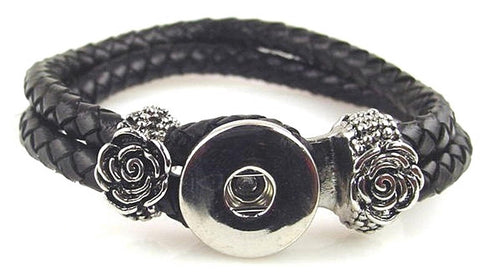 Black roses leather like braided large twinklette bracelet 10837-shelf