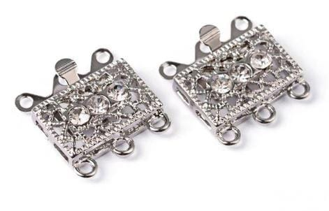 2 Platinum Filigree box clasps Triple Strand