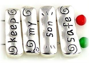 "Bright Silver ""Keep my son safe"" spacer bar beads 10025-F1"