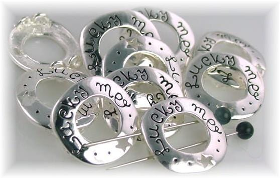 "Bright silver ""Lucky Me"" Inspirational Beads-h11"