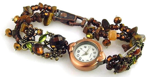 Brown_Floral_slider_bead_bracelet_design-idea