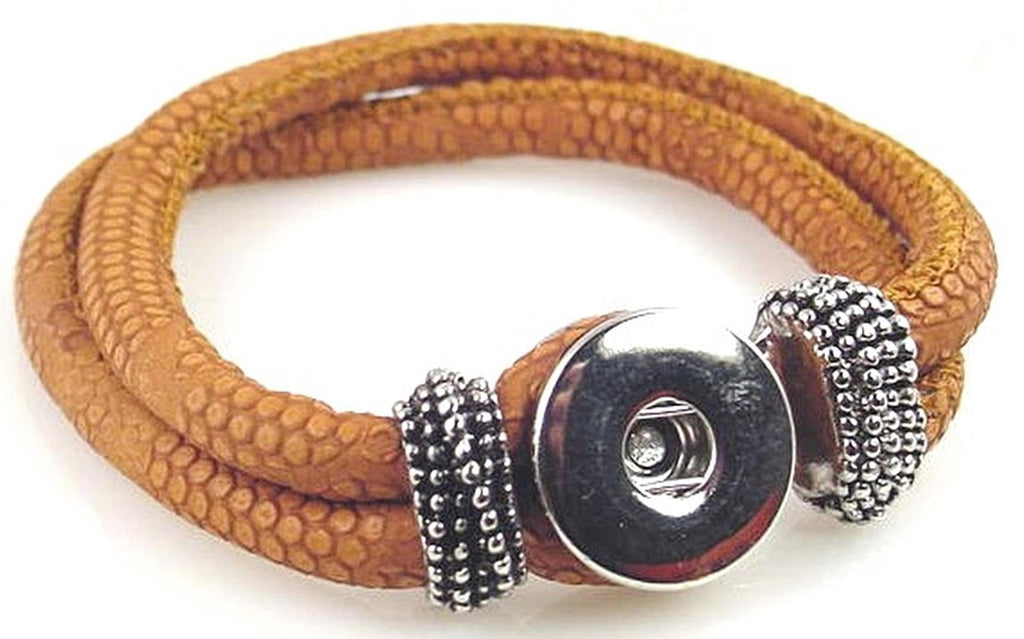 brown leather like  large twinklette bracelet 10892-shelf