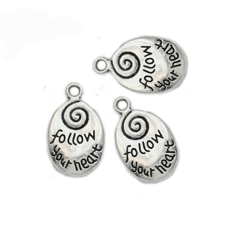 "Cute Charms with the Words ""Follow your Heart"" on them 20x12mm"