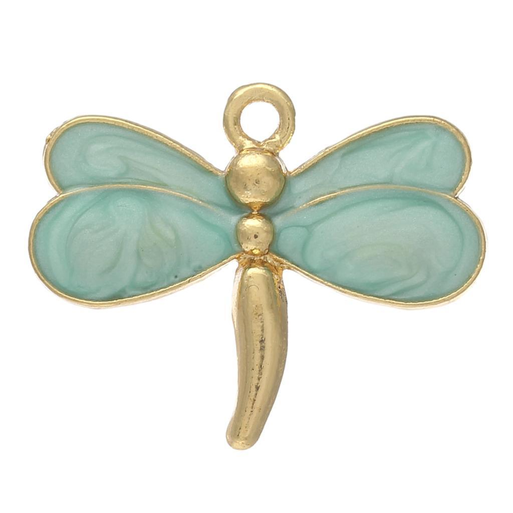 10 Dragonfly Gold color Cyan Enamel charm 26mm x 21 mm - mobile-boutique.com