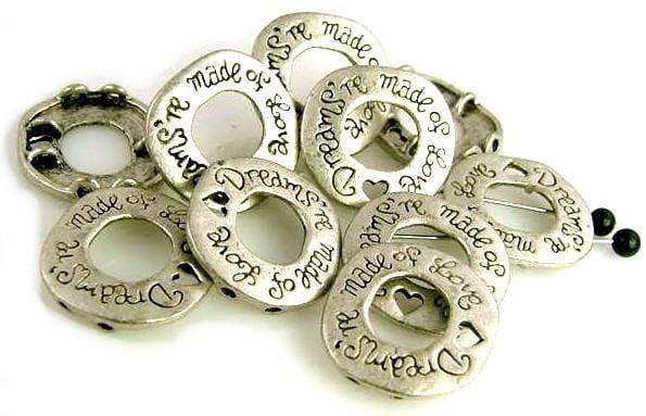Dreams're made of Love Pewter 2 hole slider beads 5674-box