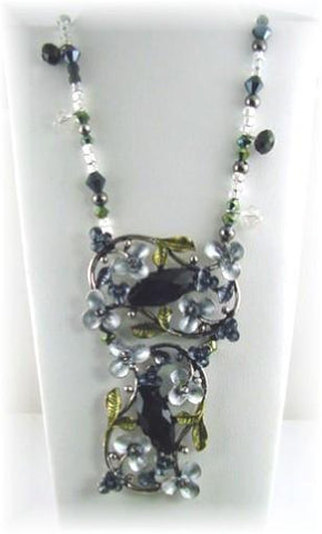 floral black slider bead necklace-idea