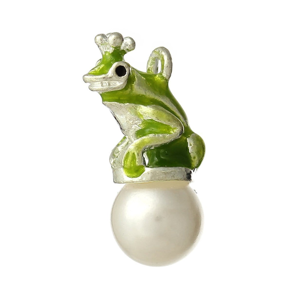 Frog Silver color Enamel Grass Green Acrylic imitation pearl charm - mobile-boutique.com
