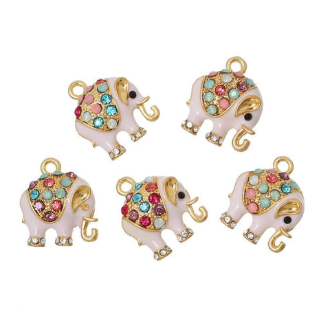 "Gold and Enamel Elephant Pendants 18mm( 6/8"") x 15mm( 5/8""), 5 PCs"