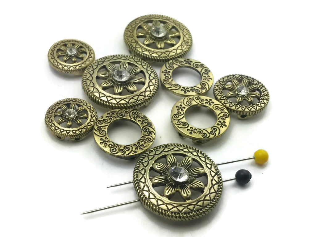 Gold with Antique Detailing Ornate Round Circular Beads Rhinestones m212