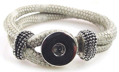 Gray leather like  large twinklette bracelet 10852-shelf