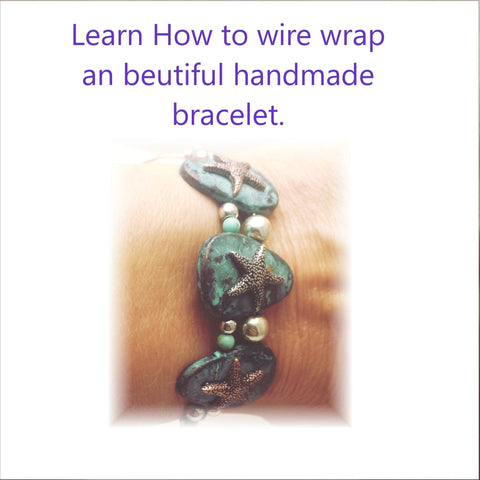 Handmade wire wrapped sea life bracelet