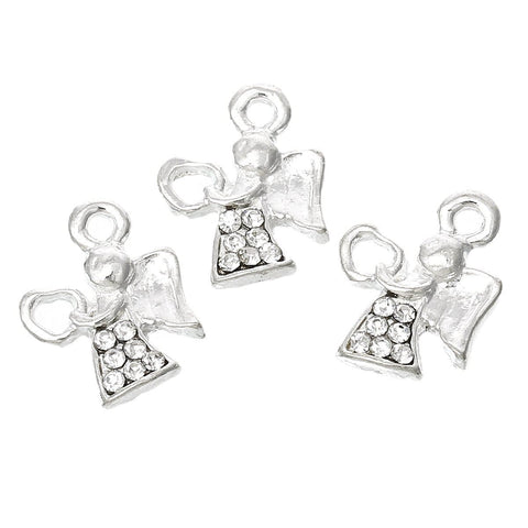 Heart Angel Silver color Clear Rhinestone charms