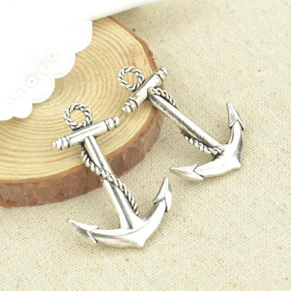 High_quality_5pcs_metal_antique_silver_Plated_anchor_charms_44*30mm