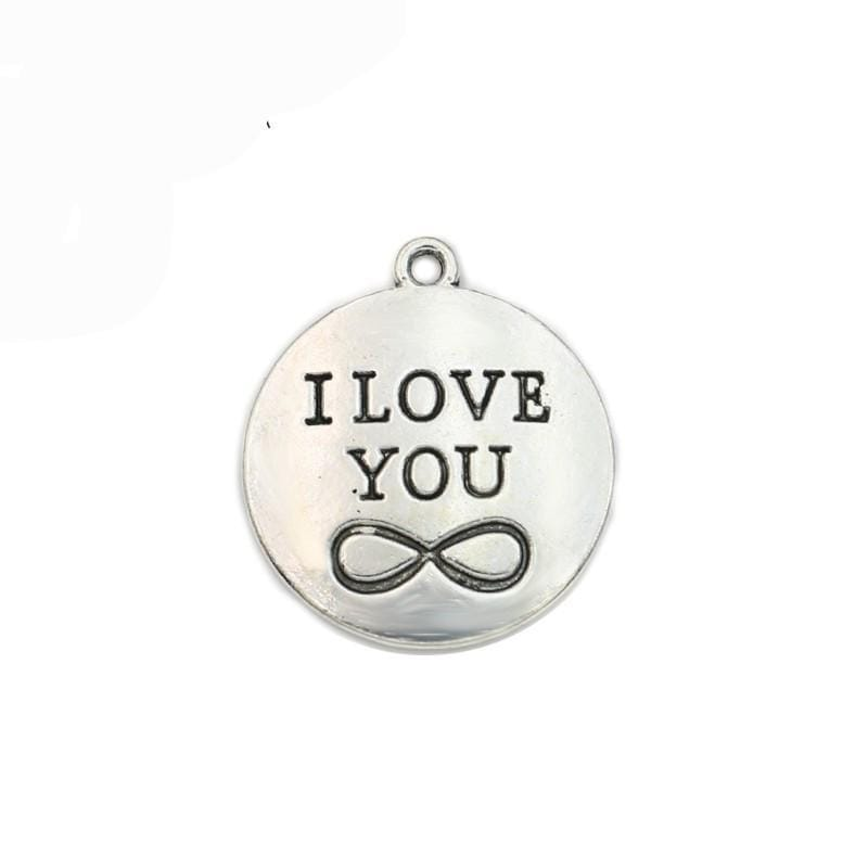 I Love You Infinity Charms 25mm or 1 inch in diameter