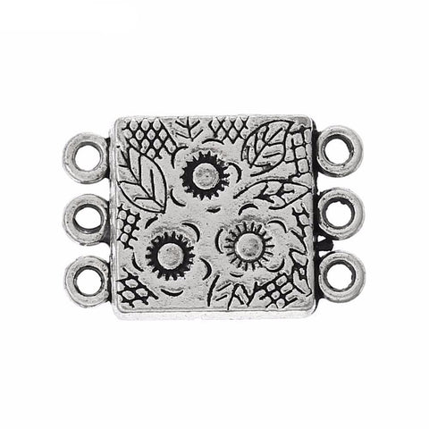 Lovely 10 Sets Antique Silver 3Holes Flower Magnetic Clasps 18.8x12.7mm