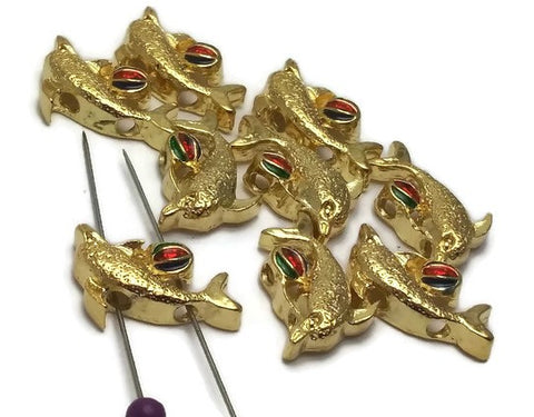 9 2 hole slider beads gold dolphins