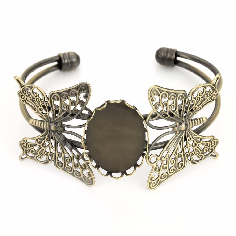 Nice!__Antique_Gold_Double_Butterfly_Bracelet_Base_Fit_18*25mm