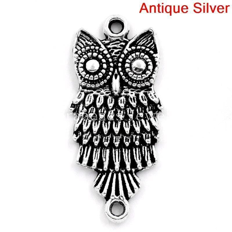 Owl Connector Charms in Antique Silver 28.5x13mm,30PCs