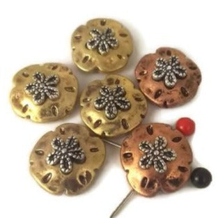 6 Gold and Copper Sand Dollars P102