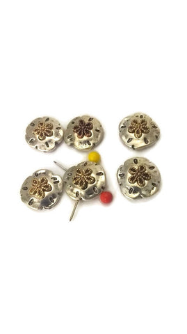 6 Silver Sand Dollars With Gold Starfish on top P103