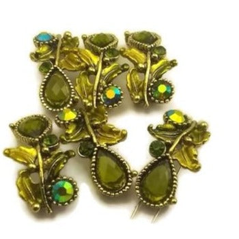 6 Lime Green Jeweled Beads