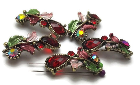 Ruby and Pink Enamel Floral Design Beads P113