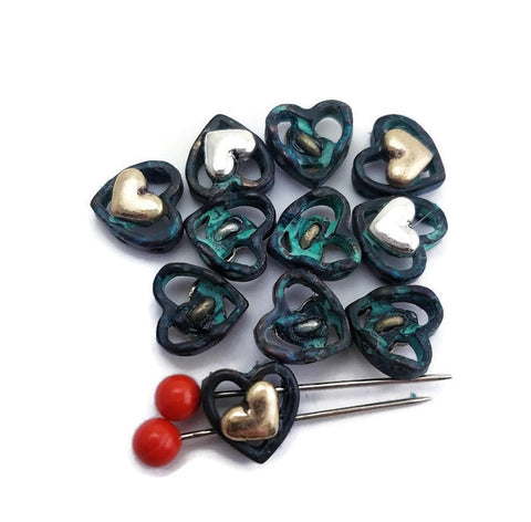 Small Heart Mixed Metal Slider Beads p127 F12