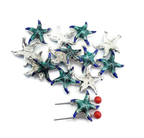 14 Green & Blue Enamel Starfish with Texture P128 F12