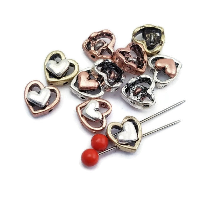 Small Heart Mixed Metal Slider Beads p129 F12
