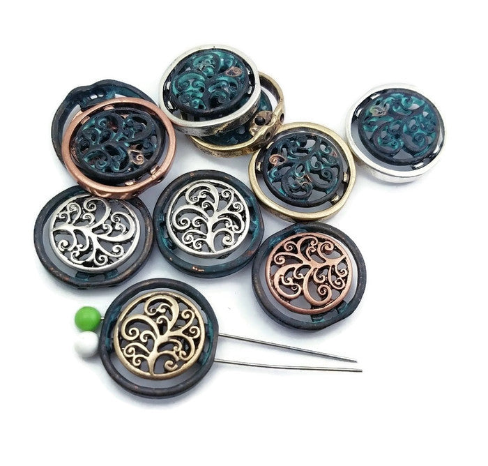10 Ornate Mixed Metal 2 Hole Bead Designs p130 - F12
