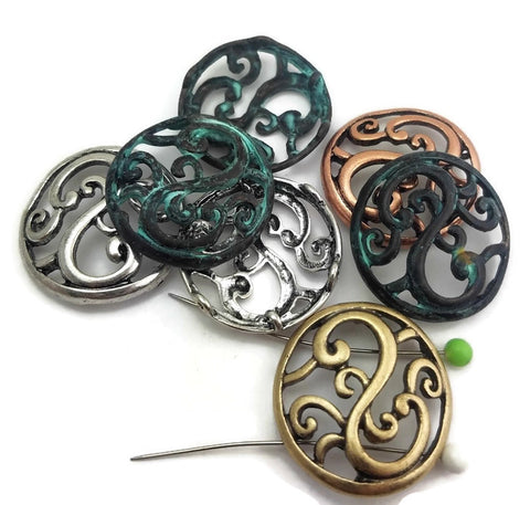 7 Mixed Metal Ornate Circle  Deisgns
