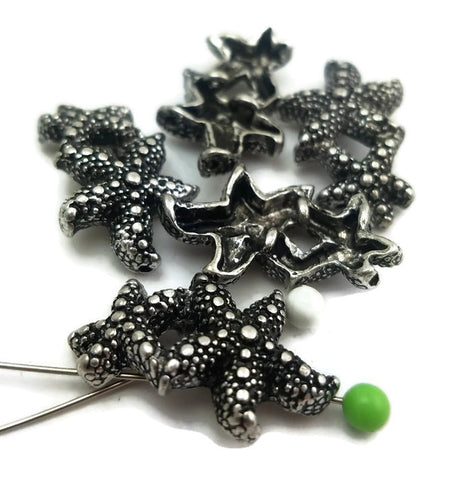 5 Textured Silver Starfish Beads