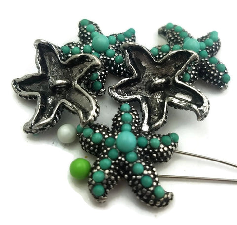 5 Platinum Silver with Enamel Drip Starfish Slider Beads