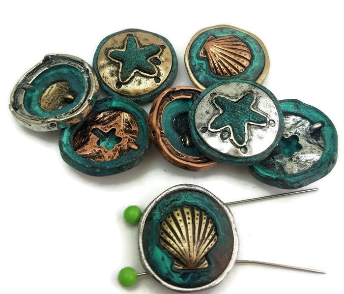 Seashell or Seaside Beads Patina and Mixed Antique Metal Slider Beads